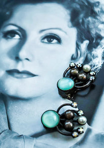 Art nouveau clip on earrings chrysocolla greeny blue stones