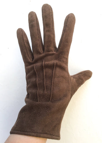 Vintage brown suede winter gloves size 7.5