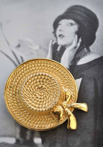 Vintage boater hat brooch pin