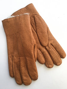 1970s Vintage Men's Tan Rabbit Fur Lined Pigskin Leather Gloves size 8