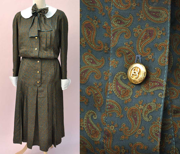 1980s DESIGNER Vintage Chanel Silk Paisley Shirt Waister Dress • Removable Peter Pan Collar and Cuffs