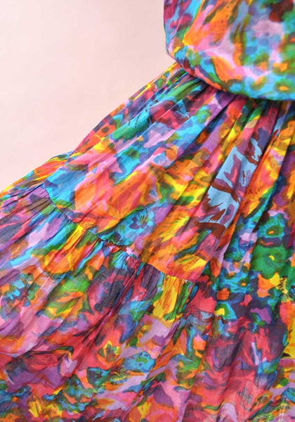 Vintage 80s Indian Cotton Multicoloured Skirt & Top • Boho • Adini