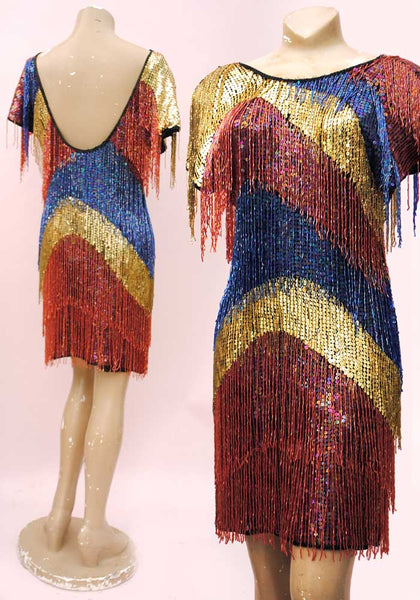 vintage 80s drag queen cocktail dress, heavily beaded
