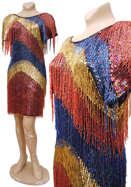 80s glam beaded fringe cocktail dress with red, gold and blue sequins