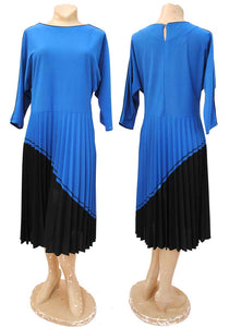 vintage 80s blue power dress with pleated skirt