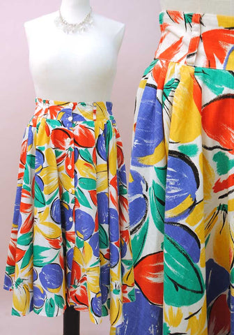 80s full circle skirt with pockets, abstract multicolour print