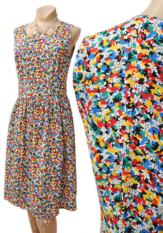 ditsy multicoloured floral crepe flapper dress, sleeveless drop eaist dress, vintage 80s