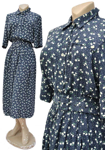 Vintage 70s Blue Ditsy Floral Tea Dress • Shirt Waister • Mandy Marsh