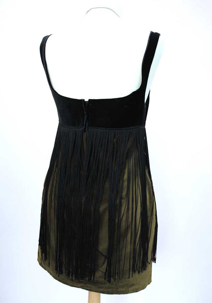 1980s Vintage Green & Black Velvet Fringed Mini Dress • 60s Style Go Go
