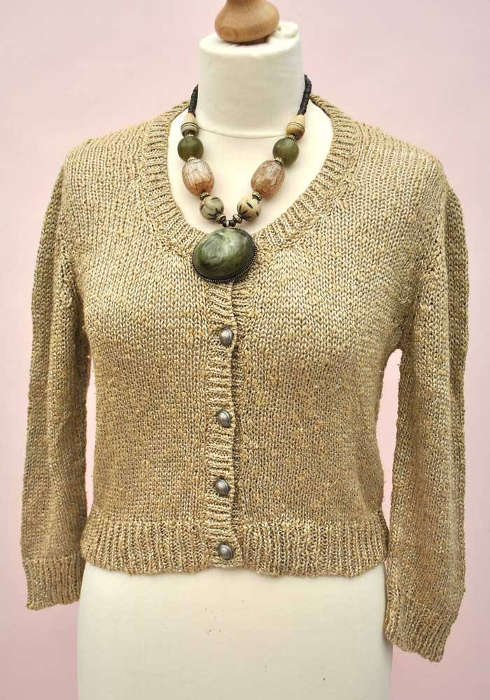 Vintage 80s Bombshell Gold Cardigan with Pewter Buttons