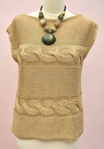 Vintage 80s Gold Sleeveless Sweater • Cable Knit Tank Top