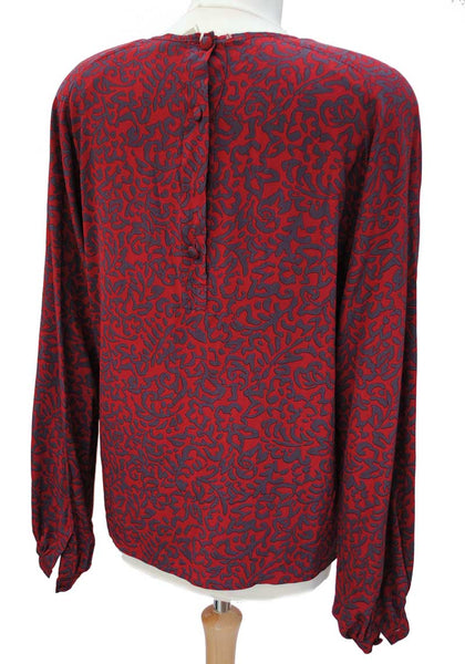 1980s Vintage Designer Karl Lagerfeld Long Sleeve Silk Top • Burgundy & Navy