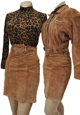 80s north beach suede leather suit, biker jacket skirt