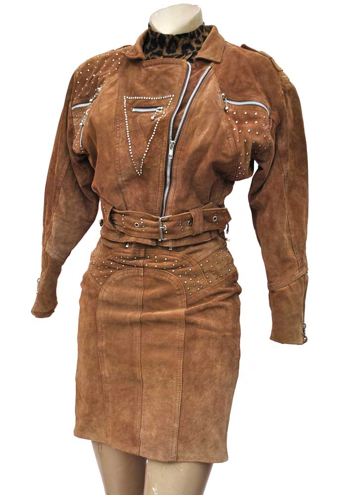 Vintage 80s Punk Rocker Suede Leather Skirt Suit