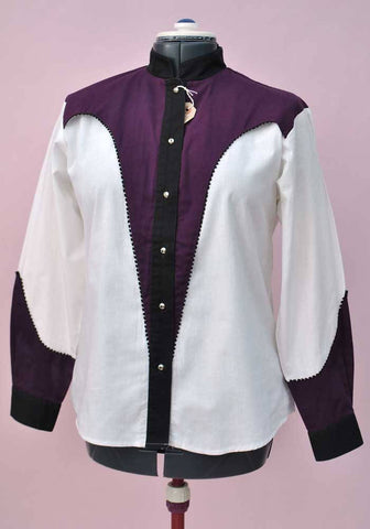 Women's Vintage 80s Western Shirt • Purple & White • Banjo
