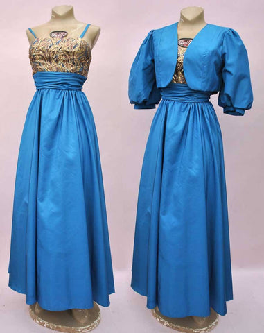 Vintage 80s Blue Evening Prom Dress with Bolero • Ball Gown