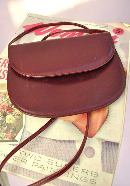 1970s Vintage Burgundy Leather Shoulder Crossbody Bag • Clutch Purse