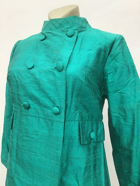 1960s Vintage Turquoise Shangtung Raw Silk Cocktail Coat