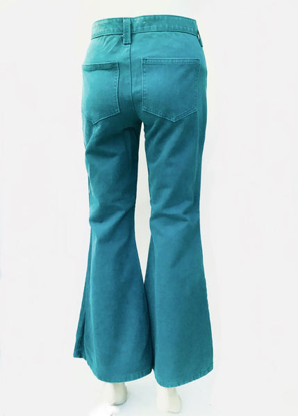 "1970s Vintage Turquoise Bell Bottom Flared Jeans • HIgh Waist 28""W"