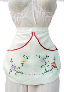 vintage embroidered Linen half apron with pockets
