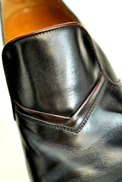1970s Vintage Men's Black Leather Slip on Mod Dress Shoes • Mylord's • Euro Size 41.5