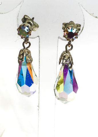 Vintage aurora crystal drop earrings for pierced ears.