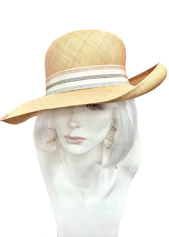 1960s edward mann straw wide brim hat, 100% hemp with wide crossgrain ribbon