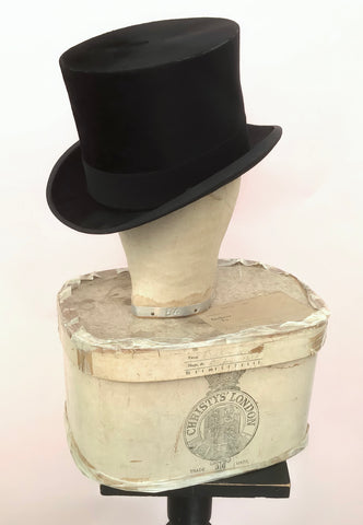 1930s silk top hat with Christies hat box