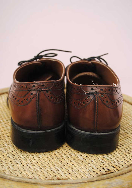 Men's Tan Brown Leather Oxford Brogues • UK Size 9.5• Brand New