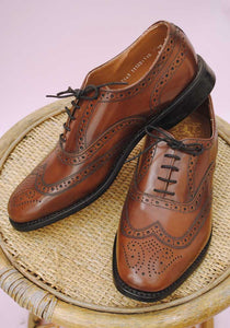 size 9.5 tan brown brogue shoes for men