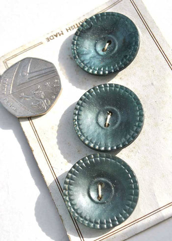 3 large pearlescent green galalith early plastic buttons