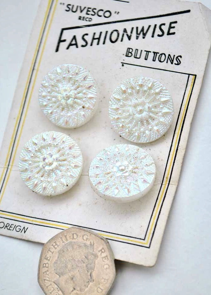 1950s Vintage Pearlescent White Pressed Glass Buttons Fashionwise