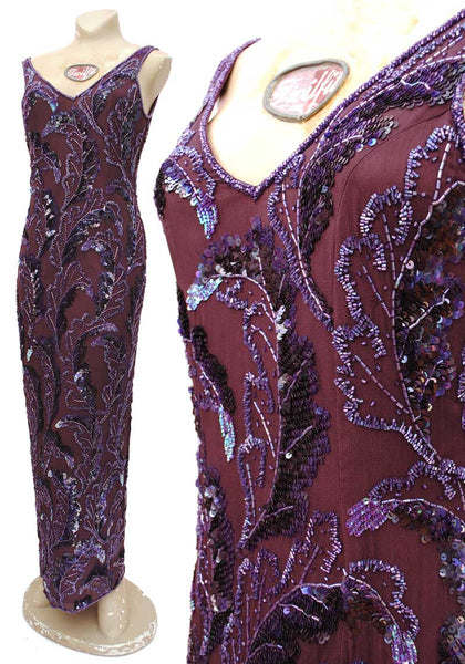 frank usher purple sequin evening gown
