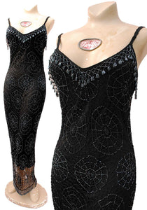 1990s Vintage Black Beaded spiderweb Wiggle Dress