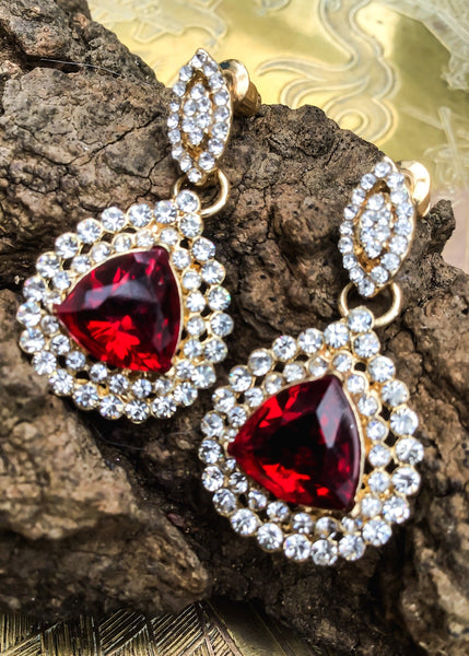 Statement red crystal dangle earrings