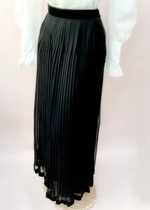 Buy Vintage long ankle length sheer black pleated skirt