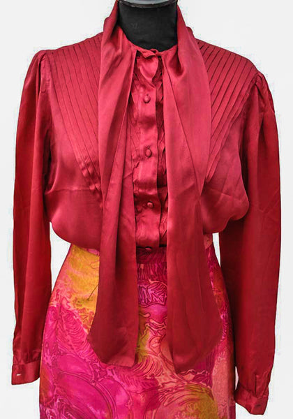 1980s Vintage Cherry Red Silk Pussy Bow Blouse, Pintucked Front