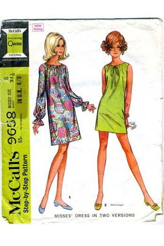 1960s Vintage Shift Dress McCalls 9658 Dressmaking Pattern