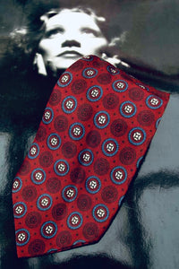 Vintage rayon burgundy and blue pattern print neck tie