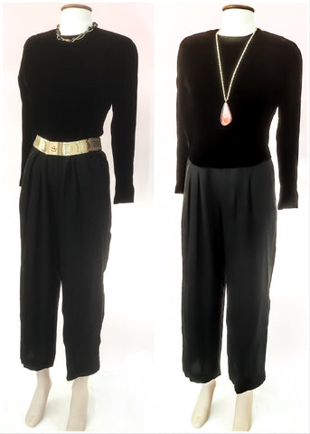 Vintage jumpsuit by Anne Klein from the 80s 90s, long sleevedvelvet body with light and airy georgette tapered legs, perfect for dancing.