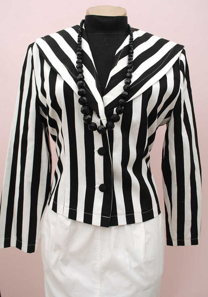 1980s Black & White Striped Cropped Jacket • Sailor Collar