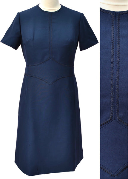 pure new wool, navy vintage mod shift dress by hucke to fit 38 inch bust