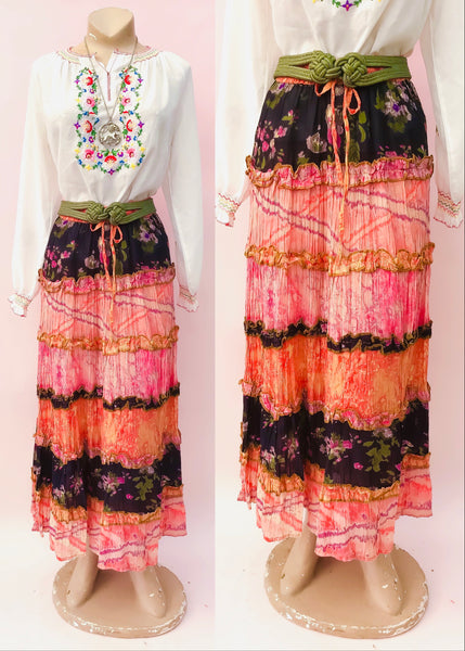Orange, pink, black floral indian cotton hippie skirt, great for festivals