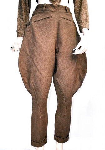 1950s Brown Vintage Elephant Ear Riding Jodphurs Breeches
