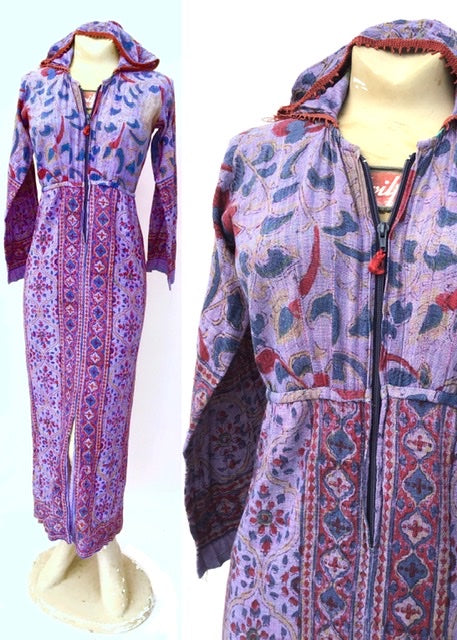 purple block printed indian cheesecloth hooded hippie festival dress