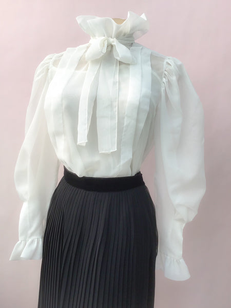 Buy 1980s high neck ruffle blouse in sheer white with puffed sleeves