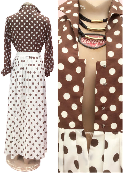 1970s Vintage Brown Polka Dot Maxi Dress • Pretty Woman