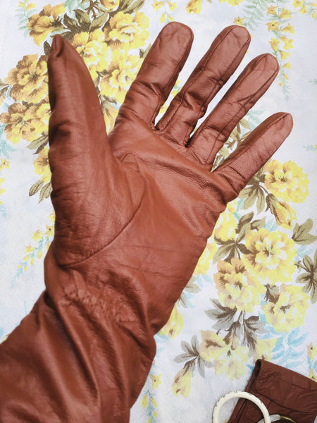 1960s Vintage Tan Brown Faux Leather Gauntlet Gloves • S/M