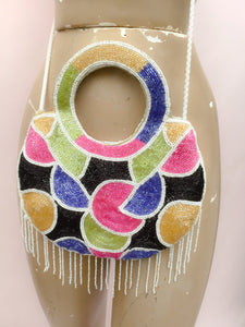 Vintage abstract multicoloured beaded disco bag