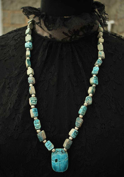 Egyptian Revival Turquoise Clay Scarab Beetle Necklace • Souvenir